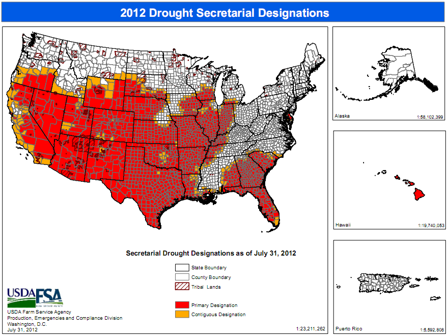 Map of US Counties Designated as Disaster Areas IndexMundi Blog