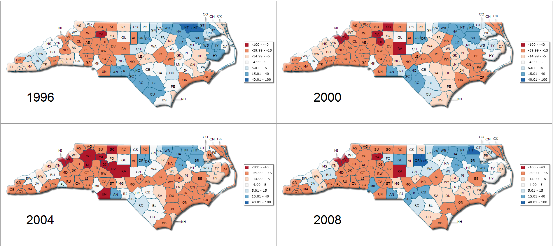 Presidential election results for North Carolina counties 1996-2008