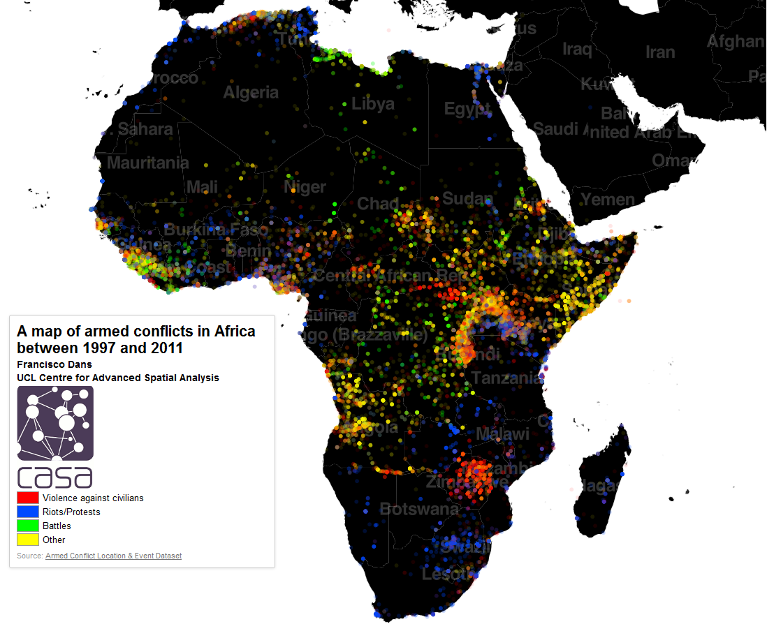 Map of armed conflicts in Africa 1997-2011