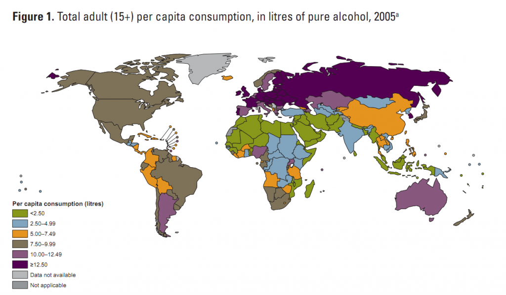 Alcohol consumption per capita by country