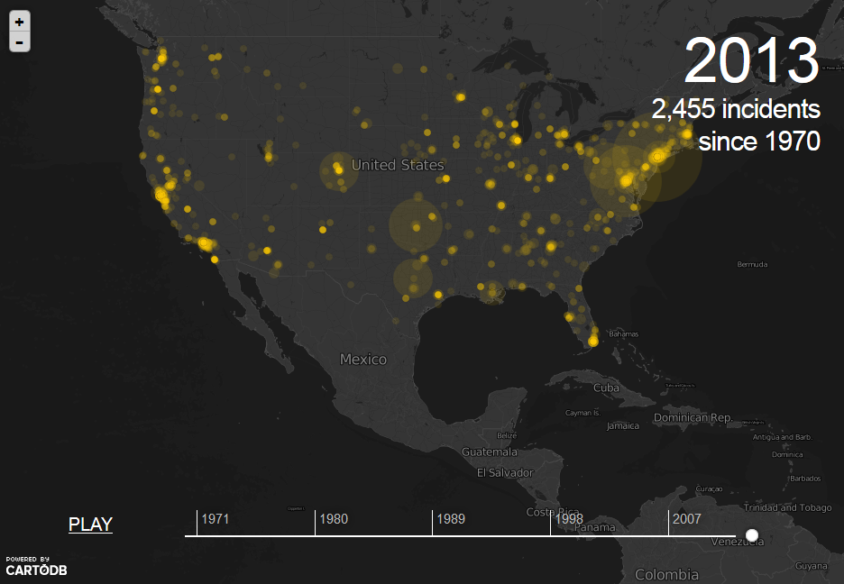 Terrorist Attacks In The US Since IndexMundi Blog - Map of us terrorist attacks