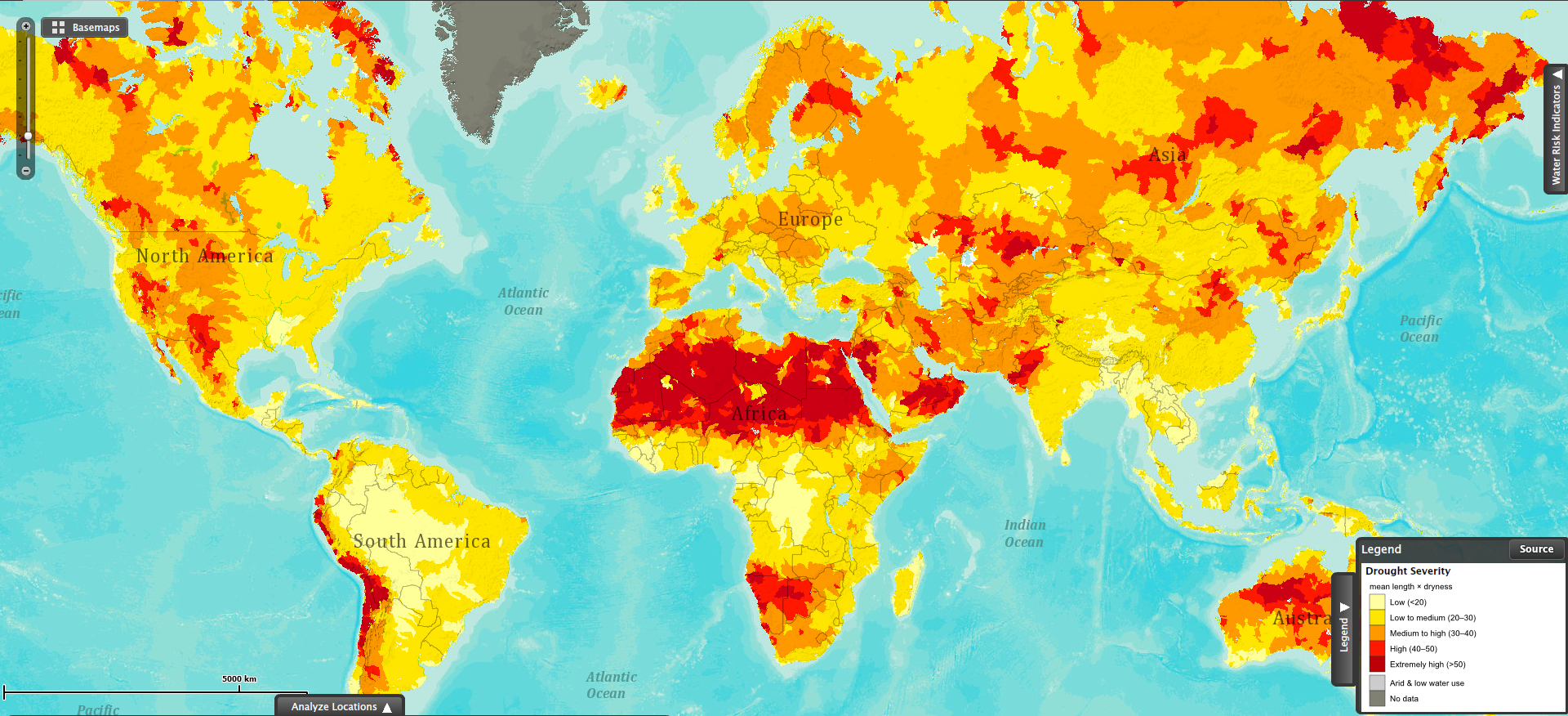 drought severity world