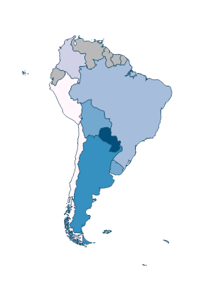 Customs and other import duties (% of tax revenue) - South America